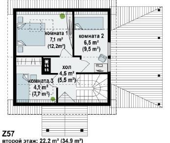 Проект дома Проект z57, 74 м2