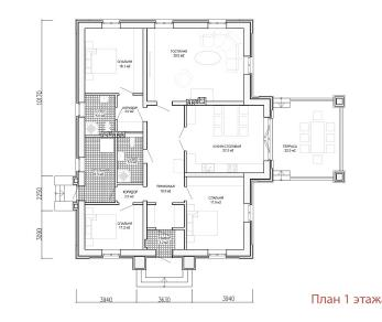 Проект дома Одноэтажный дом с террасой, 164 м2