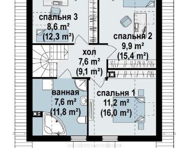 Проект дома Проект z99, 126.9 м2
