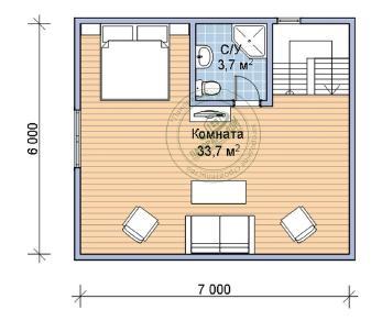 Проект дома Аквамарин, 105 м2