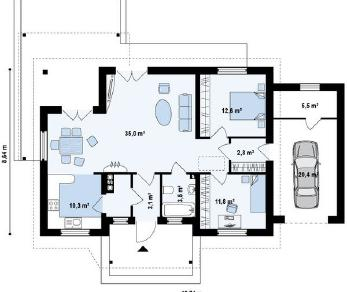 Проект дома Проект z136gp, 105 м2