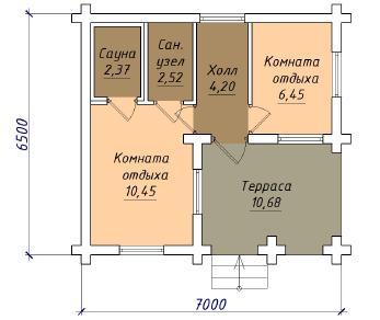 Проект  Проект бани 029/186 , 29 м2