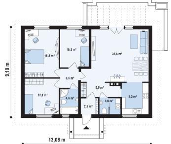 Проект дома Проект z8, 99.6 м2