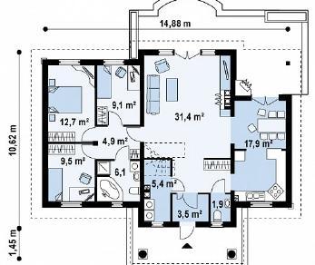 Проект дома Проект Z2, 109.1 м2