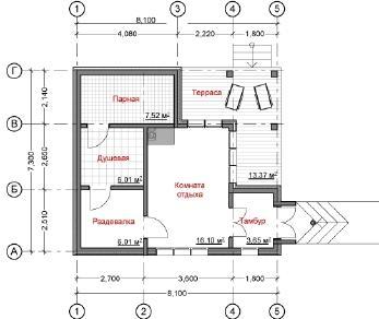 Проект бани Юха, 53 м2