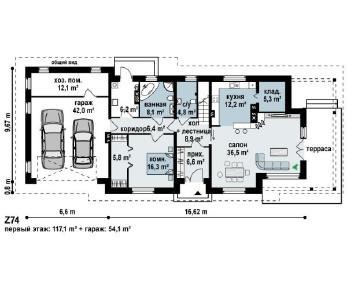 Проект дома Проект z74, 257.6 м2