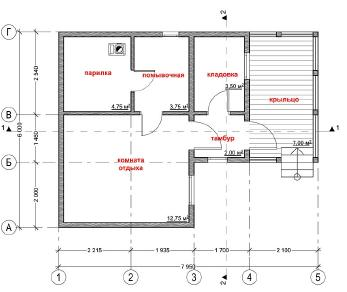 Проект бани Карру, 39 м2