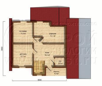 Проект дома Проект дома №134, 57 м2