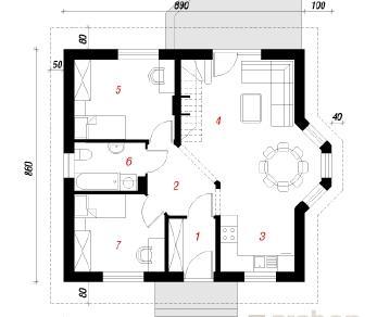 Проект  Дом в ягодах, 62.3 м2