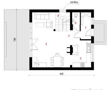 Проект  Дом на пригорке, 93.2 м2