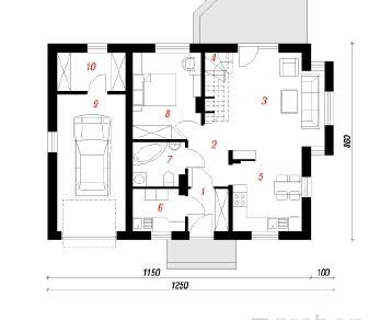 Проект  Дом Миниатюрка 2, 121.6 м2
