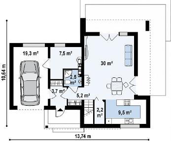 Проект дома Проект Zx41, 132.5 м2