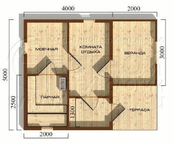 Проект бани Баня. Проект №11, 30 м2