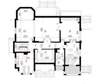 Проект  Резиденция в Мышленицах, 468.2 м2