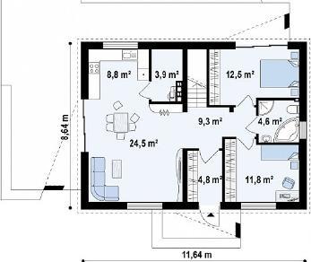 Проект дома Проект Z255, 80.2 м2