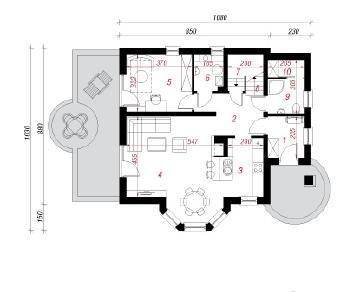 Проект  Дом в мандаринках 2, 122.7 м2