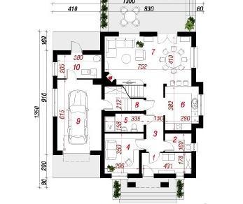 Проект  Дом в мальвах, 206.6 м2