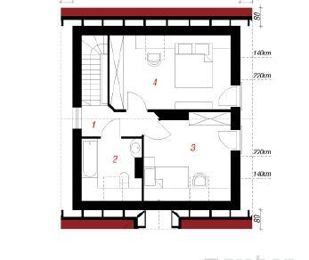 Проект  Дом в бруснике, 67.4 м2