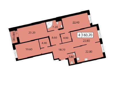 Продажа элитной квартиры 160.7 м2 в новостройке, Смоленская ул., д.14 - №104801