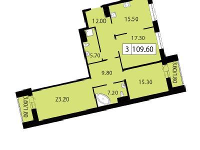 Продажа элитной квартиры 109.6 м2 в новостройке, Смоленская ул., д.14 - №104789