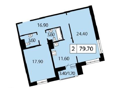 Продажа элитной квартиры 79.7 м2 в новостройке, Смоленская ул., д.14 - №104769