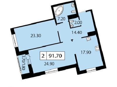 Продажа элитной квартиры 91.7 м2 в новостройке, Смоленская ул., д.14 - №104752