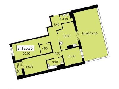Продажа элитной квартиры 125.3 м2 в новостройке, Смоленская ул., д.14 - №104693