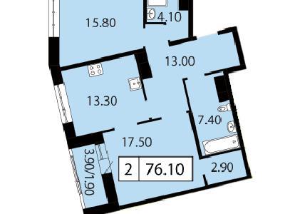 Продажа элитной квартиры 76.1 м2 в новостройке, Смоленская ул., д.14 - №104758