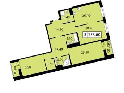 Продажа элитной квартиры 133.6 м2 в новостройке, Смоленская ул., д.14 - №104720