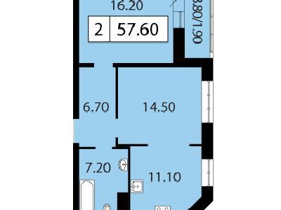 Продажа элитной квартиры 57.6 м2 в новостройке, Смоленская ул., д.14 - №104679
