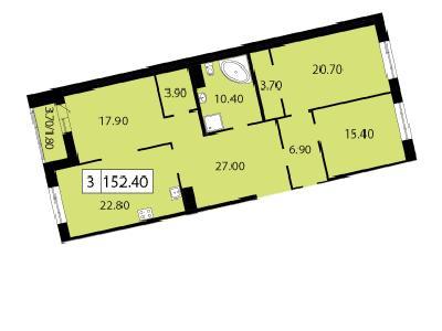 Продажа элитной квартиры 152.4 м2 в новостройке, Смоленская ул., д.14 - №104775