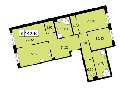 Продажа элитной квартиры 149.4 м2 в новостройке, Смоленская ул., д.14 - №117888