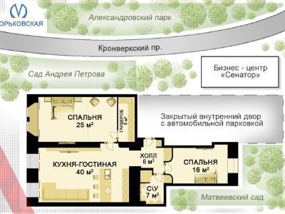 Аренда квартиры 120 м2 Каменноостровский пр., д.24