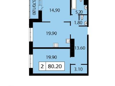 Продажа элитной квартиры 80.2 м2 в новостройке, Смоленская ул., д.14 - №104675