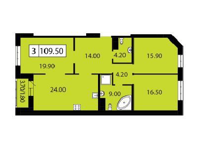 Продажа элитной квартиры 109.5 м2 в новостройке, Смоленская ул., д.14 - №104780
