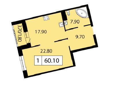 Продажа элитной квартиры 60.1 м2 в новостройке, Смоленская ул., д.14 - №104721