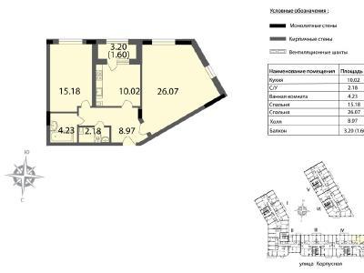 Продажа элитной квартиры 68.25 м2 в новостройке, Пионерская ул., д.53 - №137232
