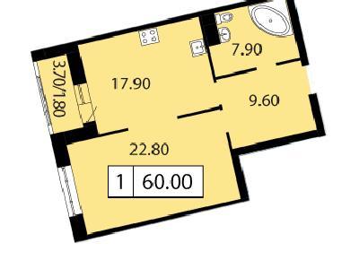Продажа элитной квартиры 60 м2 в новостройке, Смоленская ул., д.14 - №104742