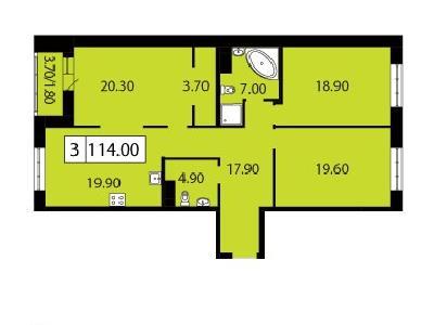 Продажа элитной квартиры 114 м2 в новостройке, Смоленская ул., д.14 - №104800